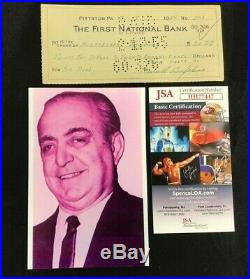 1955 Russell Bufalino Hand Signed Personal Check Jsa/coa Irishman Joe Peschi