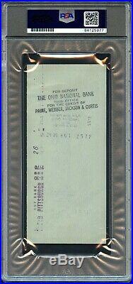 1970 ROBERTO CLEMENTE SIGNED PERSONAL CHECK PIRATES HoF PSA/DNA AUTO GRADE 10