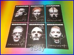 6 x Rammstein signiert signed autograph Autogramm auf Autogrammkarte in person