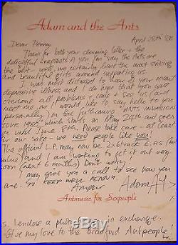 Adam Ant Hand Signed Handwritten Personal Letter To A Fan On Ants Paper 1980 III