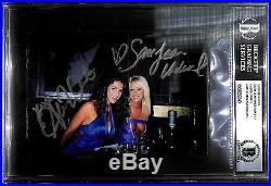 Alison Waite & Sara Jean Underwood Signed Hugh Hefner Personal Photo BAS Playboy