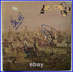 BEE GEES Autograph IN-PERSON GROUP Signed Trafalgar Record X3 LP JSA Authentic