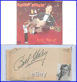 Bill Haley Vintage 50s In Person Hand Signed Page With Image. Rare Early Form