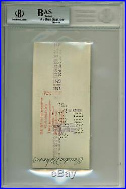 Bobby Fischer Authentic Signed Personal Check Dated August 21, 1974 BAS Slabbed
