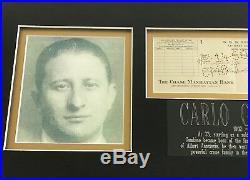 Carlo Gambino Signed Personal Check Jsa Coa Framed Crime Family Mob Autograph