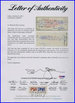 Catcher in the Rye Author J. D. SALINGER Personal Check SIGNED Autograph PSA/DNA