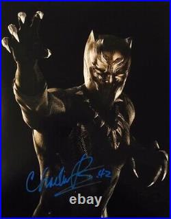 Chadwick Boseman HAND SIGNED 14x11 BLACK PANTHER Photograph IN PERSON COA Rare