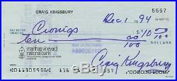 Craig Kingsbury Signed Autographed Personal Check Ben Gardner Jaws Rare