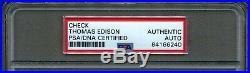 Dec 1927 Thomas Edison Rubber Research Hand Signed Personal Check Auto Psa/dna