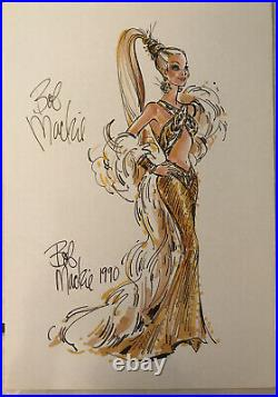 Gold Barbie BOB MACKIE Signed AUTOGRAPH LITHOGRAPH In Person VINTAGE 1995