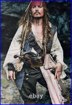 JOHNNY DEPP Signed JACK SPARROW Pirates 12x18 Photo IN PERSON Autograph BAS COA