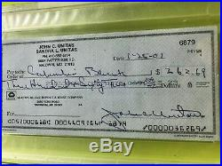Johnny Unitas Signed Personal Check From Year Before His Death PSA Encapsulated