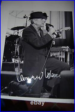 Leonard Cohen signed 11x14 Boldly autographed IN Person signed in Silver