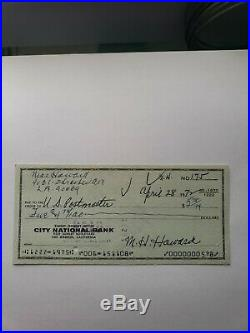 Moe Howard personal Autographed Check The 3 Three Stooges signed
