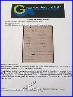 ROBERT DeNIRO's 1954 ORIG. PERSONAL HANDWRITTEN/SIGNED 5th GRADE SPELLING TEST