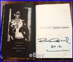 Ric Ocasek The Cars Signed In Person'lyrics & Prose' Hc 1st/1st Ed. Near Mint