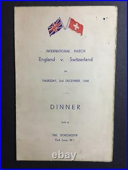 SIGNED ENGLAND V SWITZERLAND 2/12/1948 Billy Wright Personal Menu Autograph X 10