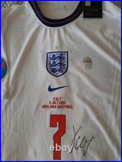 Signed Jack Grealish England Euro 2020 Final Vaporknit Shirt XL COA Proof