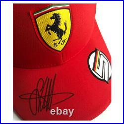 Signed Sebastian Vettel Personal Cap 2019 Ferrari Framed Display Formula 1
