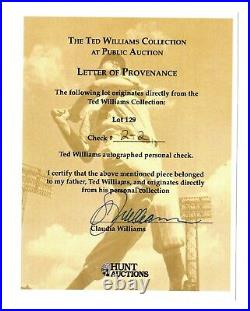 Ted Williams Signed Personal Check Large Amount Mint Condition Hunt/claudia Coa