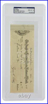 Ty Cobb Signed Detroit Tigers Personal Bank Check PSA/DNA GM MT 10