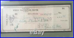 Ty Cobb Signed Personal Check Framed With Perez Steele Photo Autograph JSA LOA