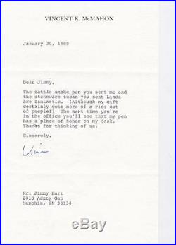 VINCE McMAHON SIGNED 1989 LETTER TO JIMMY HART ON PERSONAL LETTER HEAD WWE WWF